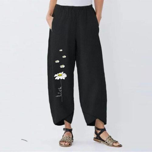 Plus Size Women's Printed Trousers Casual Elastic Waist Long Pantalon Female Flower Turnip 2020 Pants