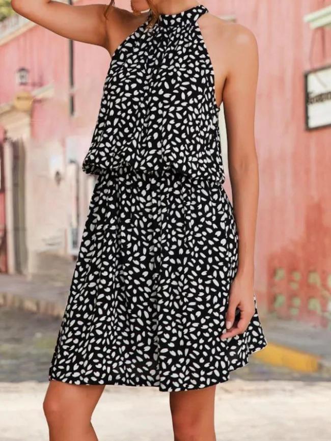 Summer Holiday Halter Floral Mini Dress