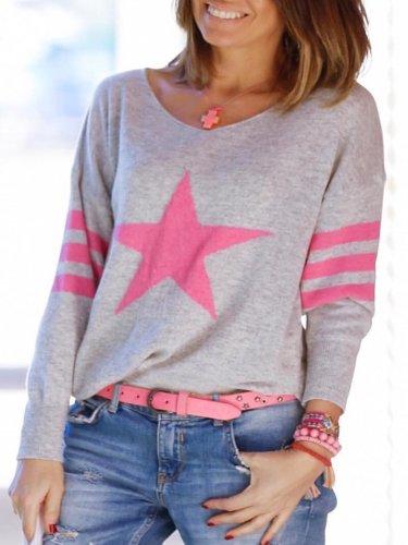 Grey Long Sleeve Printed Shirts & Tops