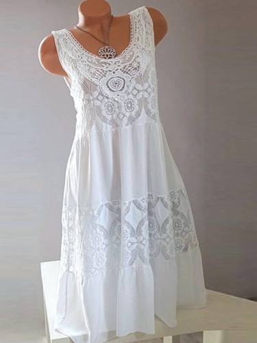 White Cotton Sleeveless Dresses