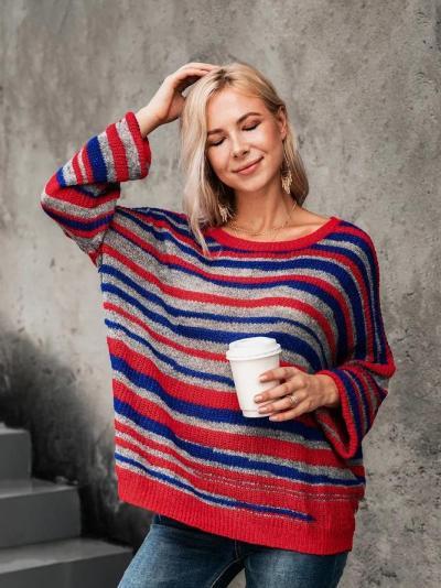 Basic Striped Scoop Neckline Sweater