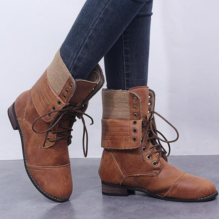 Womens Lace Up Mid-Calf Winter Boots