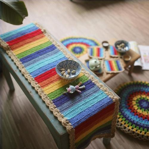 Rainbow Handmade Crocheted Table Mat