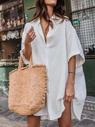 White Shift Long Sleeve Dresses