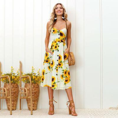 Sexy Summer Button Beach Boho Bohemian Dress