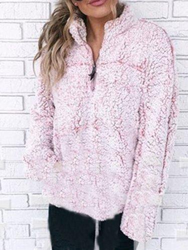 Pink Stand-up Neck Zipper Casual Hoodies & Sweatshirt