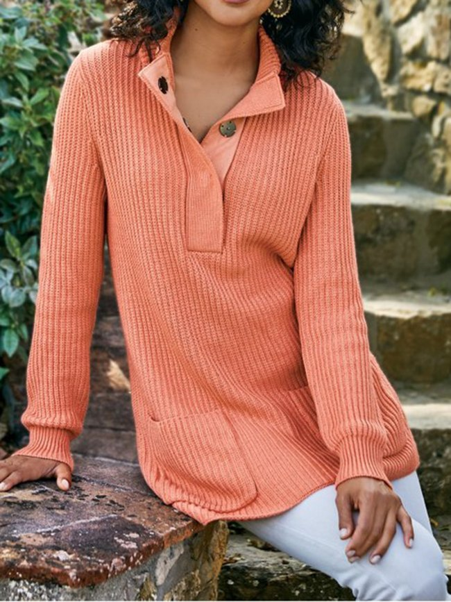 Knitted Plain Sweater