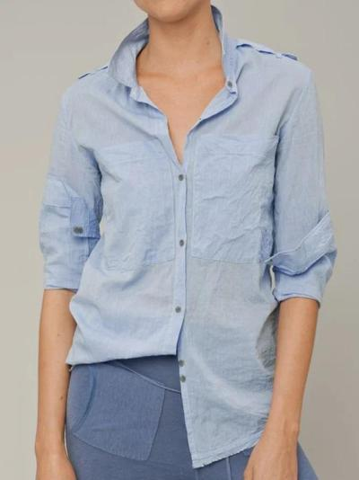 Light Blue Cotton Pockets Long Sleeve Shirts & Tops