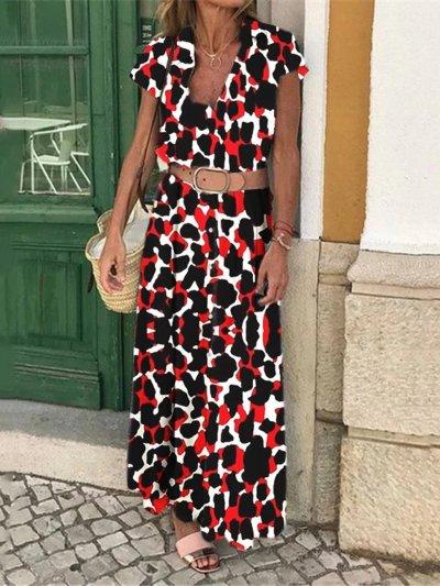 Printed Holiday Maxi Dress