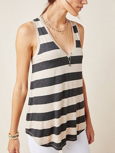 Black Casual V Neck Sleeveless Cotton-Blend Shirts & Tops