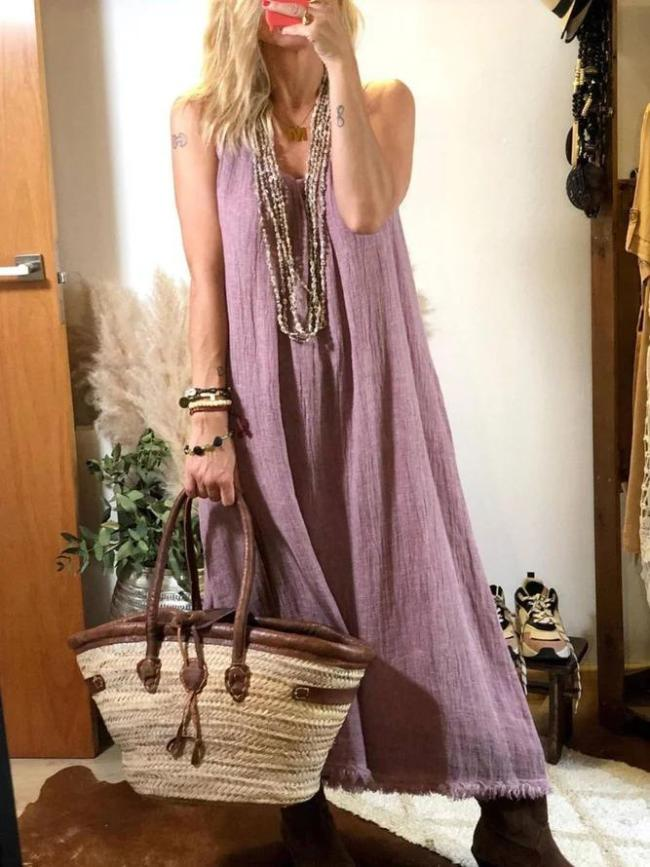 Sexy V Neck Plain Linen Dresses