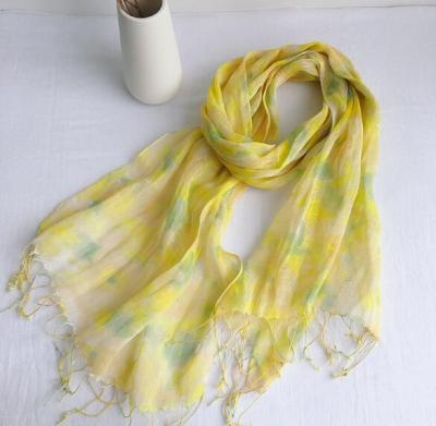 55x180CM New fashionable Pure Linen Printed Thin Scarf Shawl Travelling Beach Scarf With Fringe Tassel