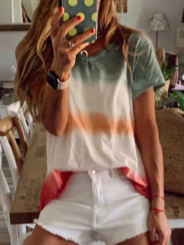Gradient V-neck Short Sleeves T-shirt