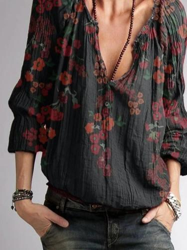 Black Floral Cotton-Blend V Neck Casual Shirts & Tops