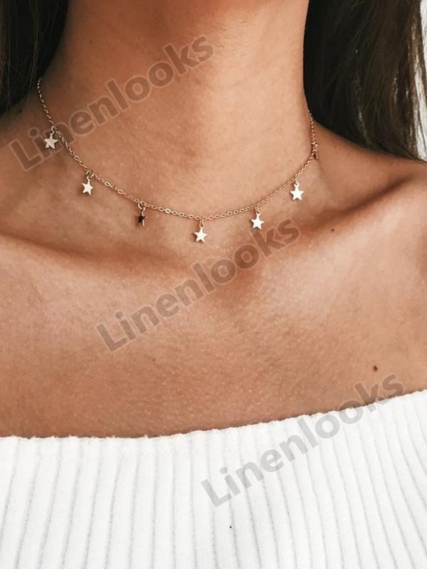 Women Choker Gold Silvery Moon Necklaces Boho Pendants Chain Collar Collares
