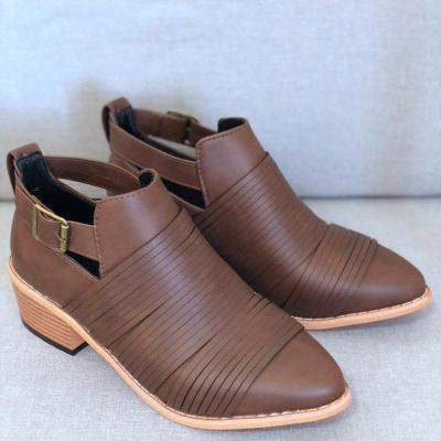 Women PU Booties Casual Comfort Adjustable Buckle Plus Size Shoes