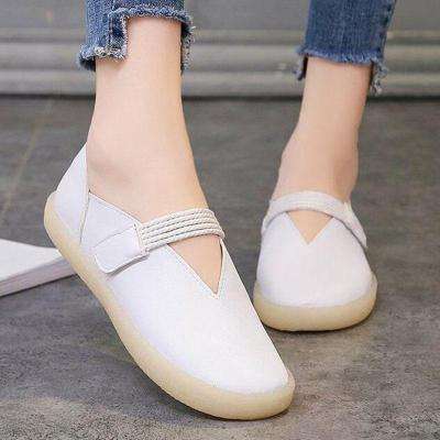 Women PU Flat Loafers Casual Comfort Magic Tape Shoes
