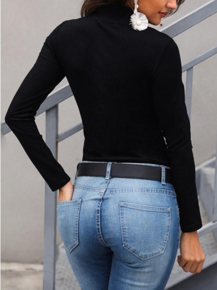 Women Zipper Long Sleeve Solid Casual Turtleneck Sweaters