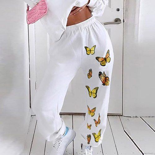 Butterfly Printed Joggers Women High Waist Pants Trousers Streetwear Sweatpants Gothic Plus Size Harajuku Wide Leg Pants