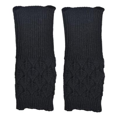 Warm Knitted Fingerless Gloves Hollow Out Leaves  Long Fingerless Knitting Wool Mittens