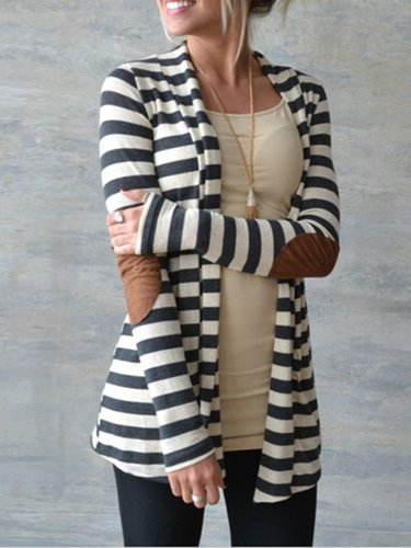Paneled Long Sleeve Lycra Shawl Collar Cardigan