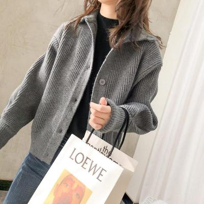 High collar sweater women's loose single breasted long sleeve knitted cardigan coat