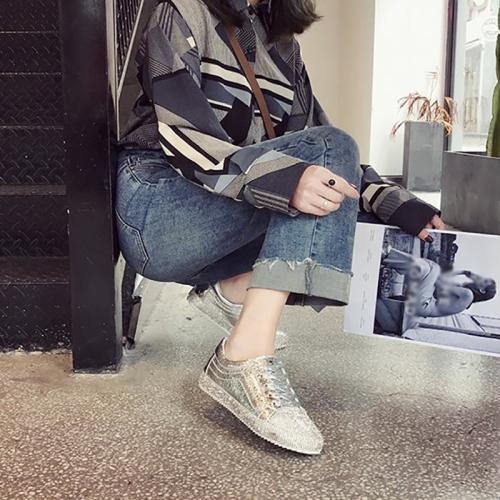 Women's Fashion Harajuku Style Solid Color Rhinestone Sneakers