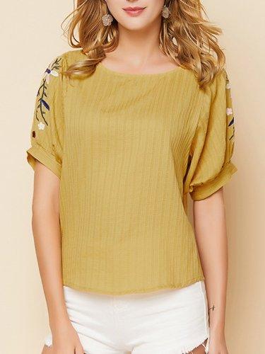 Yellow Short Sleeve Crew Neck Cotton Shirts & Tops