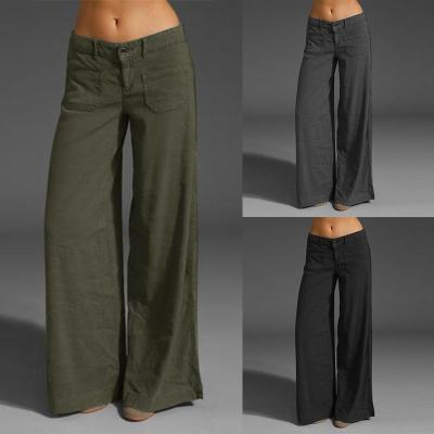 Wide Leg Pants Women's Summer Trousers Button Front Zip Turnip Causal Turnip Plus Size Pantalon