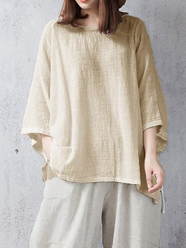 Casual Linen Crew Neck Solid Plus Size T-Shirt