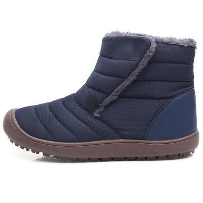 Large Size Unisex Waterproof Fur Lining Slip On Snow Boots