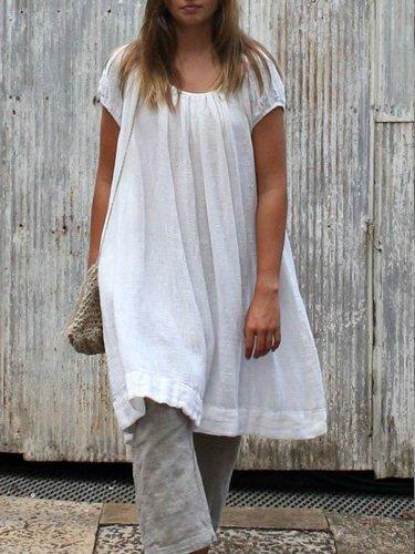 Round Neck Short Sleeve Flounce Casual Dresses