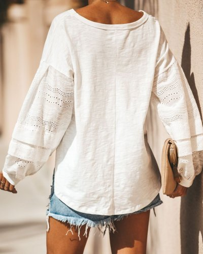 Solid Crew Neck Casual Long Sleeve Shirts & Tops