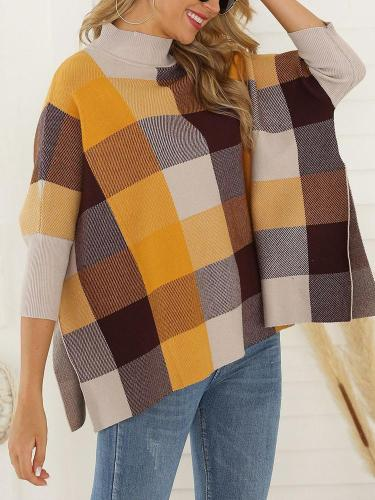 European And American Style High Collar Bracelet Sleeve Splicing Plaid Sweater