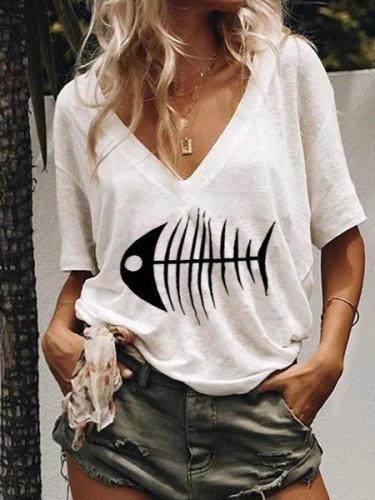 Fish Printed Casual V Neck Shirts
