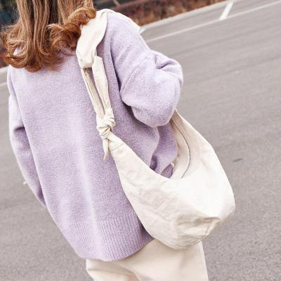 Canvas Shoulder Bag With Knotted Dumpling Bag Messenger Bag
