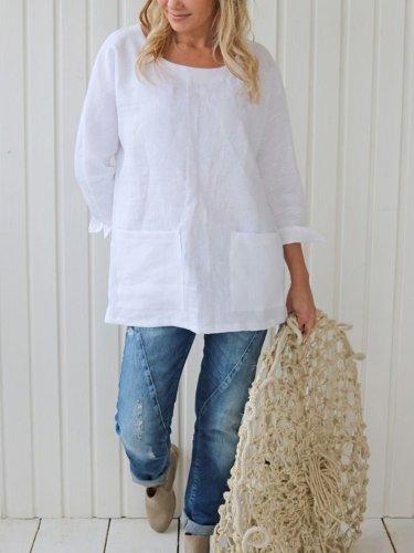Pockets Casual Plain Long Sleeve Shirts
