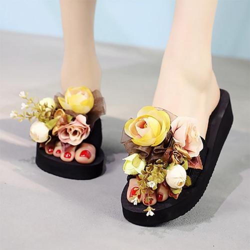 Holiday Flower Wedge Heel Slippers