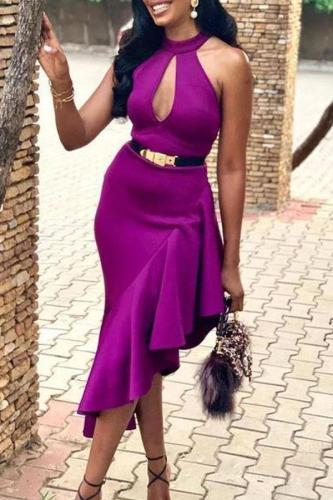 Sexy Halter Asymmetric Ruffled Pure Colour Bodycon Dresses