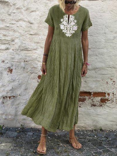 Summer Tribal Dress V-Neck Short Sleeve Maxi Dresses