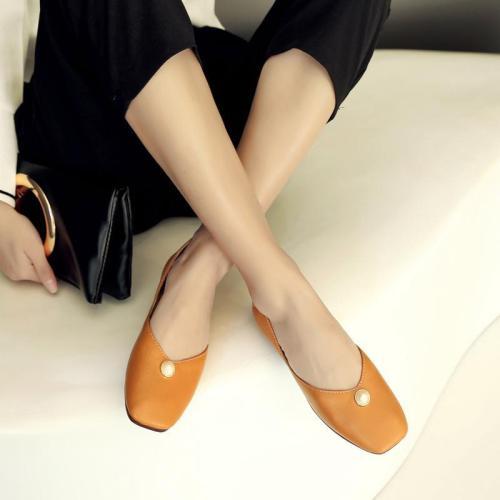 Yellow Flat Heel Imitation Pearl Casual All Season PU Flat