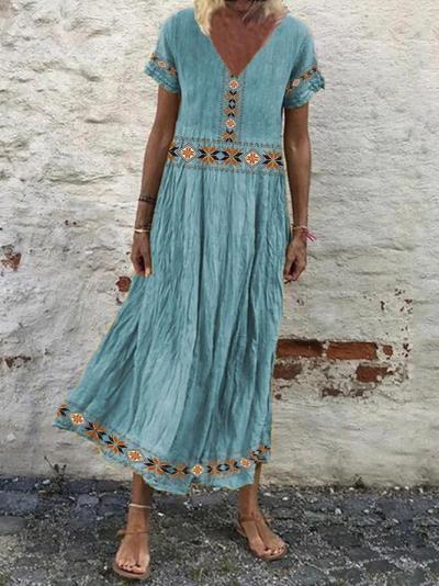 V Neck Women Dresses Shift Tribal Dresses