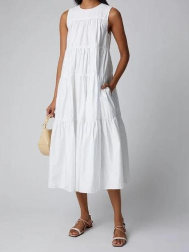 White Crew Neck Cotton-Blend Sleeveless Dresses