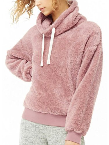 Solid Turtle Neck Casual Plain Hoodies