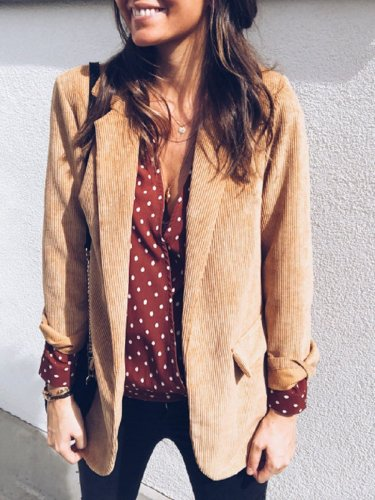 Brown Long Sleeve Solid Buttoned Corduroy Blazers