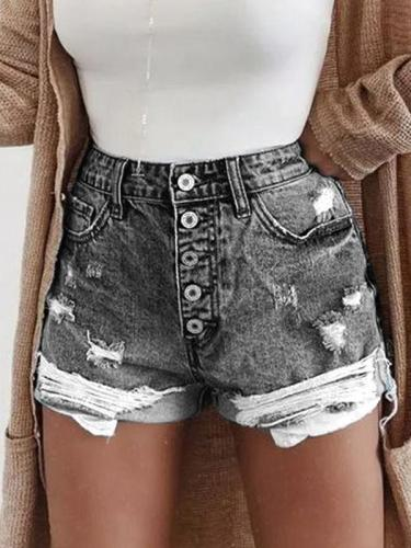 Button Down Zipper Plus Sizee Casual Shorts Pants
