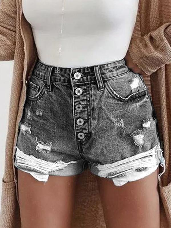 Button Down Zipper Plus Sizee Casual Shorts Pants