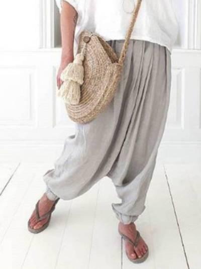 Light Gray Cotton-Blend Casual Plain Pants
