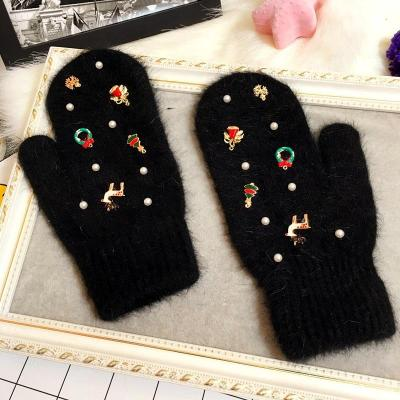 Merry Christmas Gift Women Winter Gloves Fashion Ornaments Knit Gloves Rabbit Fur Gloves