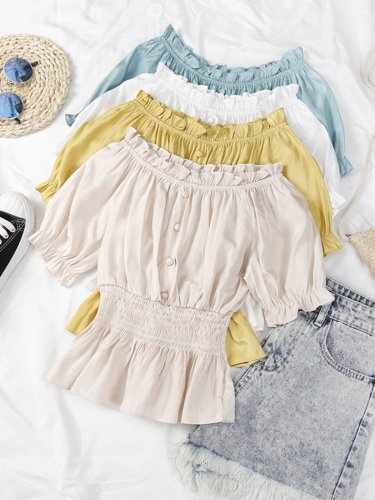 One-neck Off Shoulder Short Sleeve Pullover Solid Casual Tops